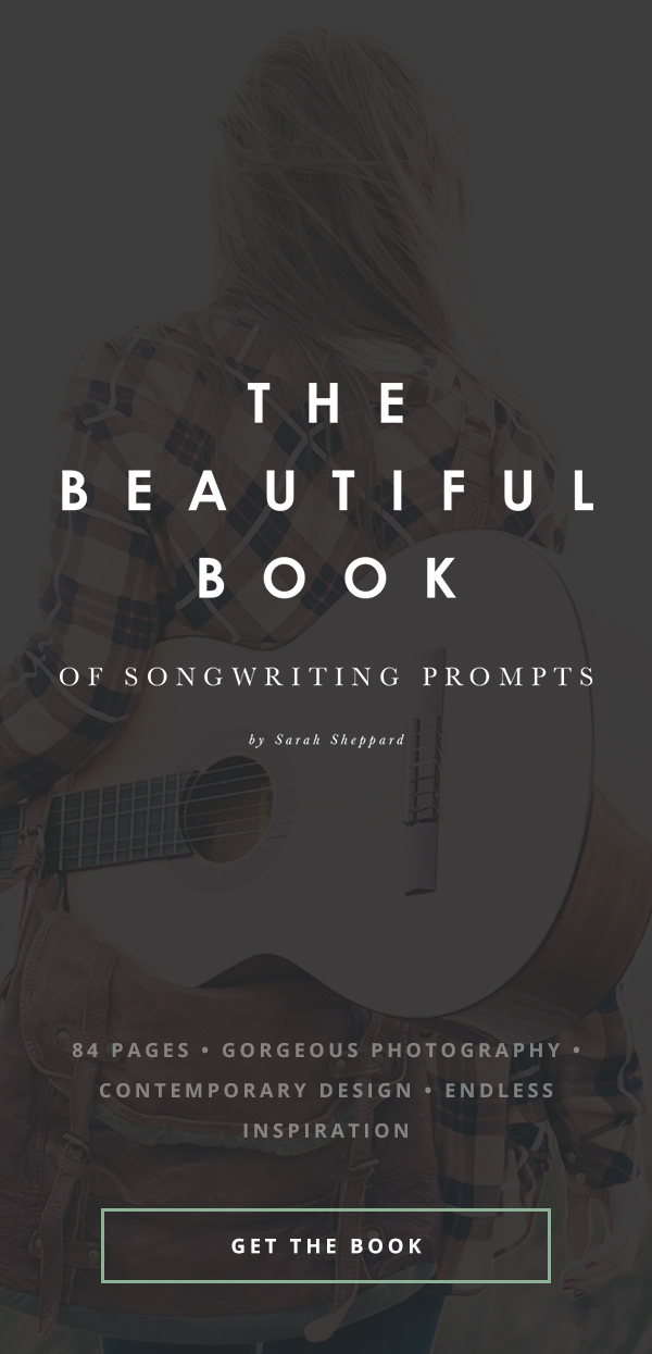 The Beautiful Book of Songwriting Prompts - for songwriters inspired by great design, photography, and unique and enchanting writing prompts.