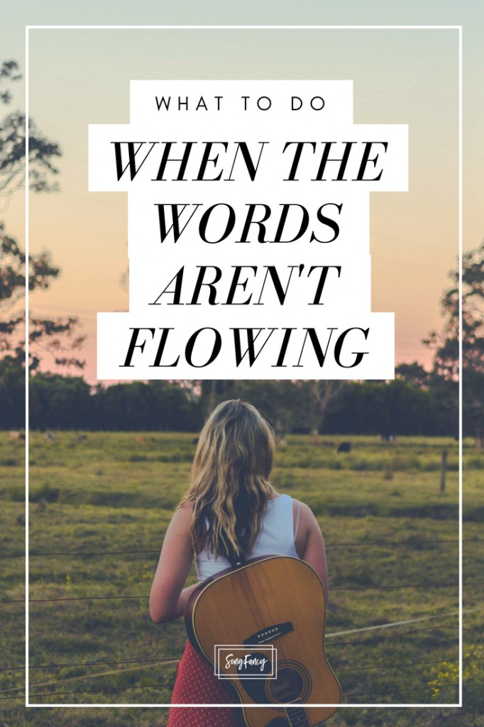 Is it normal If the words aren't flowing? Absolutely. Here's what songwriters can do about it. Songwriting tips and inspiration for the contemporary songwriter   SongFancy.com