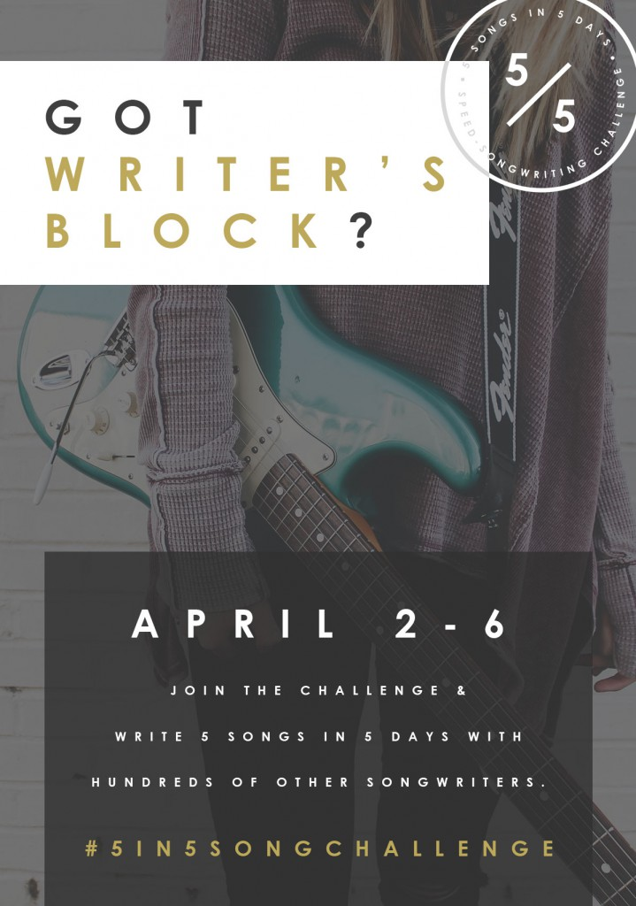 Join the 5 in 5 Song Challenge and KICK writer's block to the curb, make songwriter FRIENDS, and write 5 WHOLE SONGS in 5 days! | |SongFancy.com Songwriting tips and inspiration for the contemporary lady songwriter.