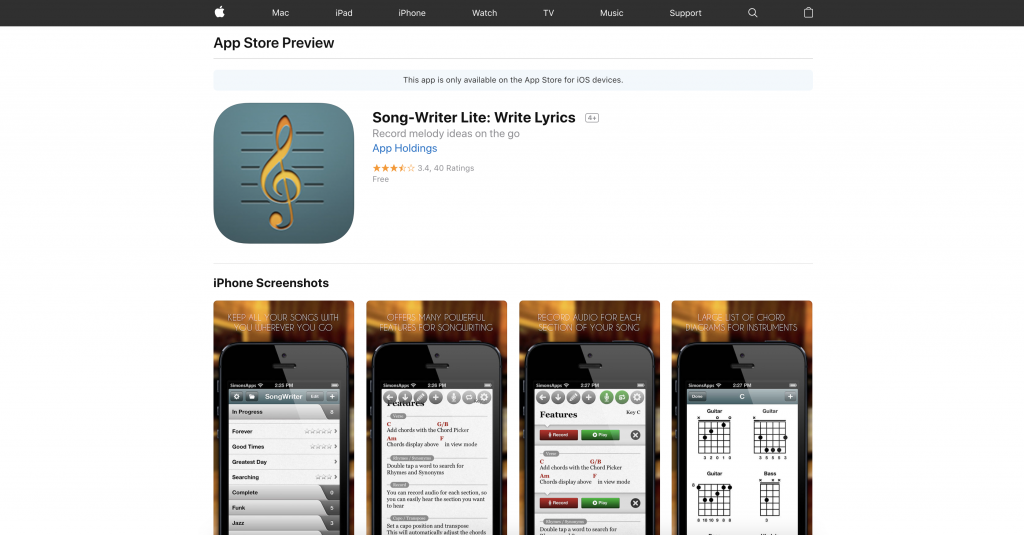 Songwriter Lite is a songwriting app that's gained a cult following. | SongFancy.com