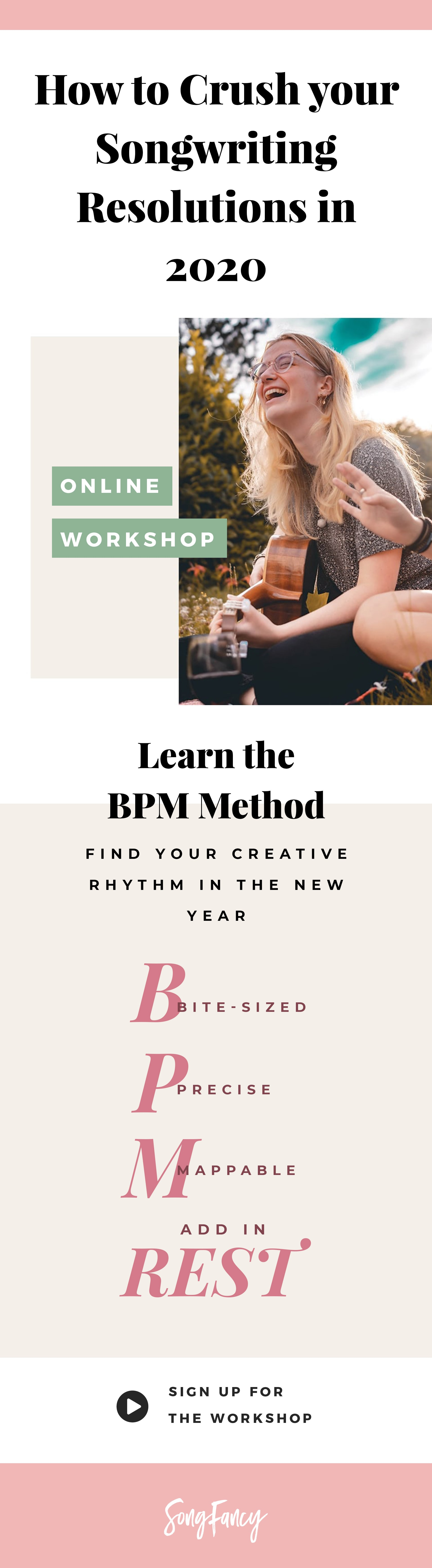Songwriting Workshop: How to Crush Your Goals in 2020 - Learn SongFancy's BPM method for finding your rhythm this year!