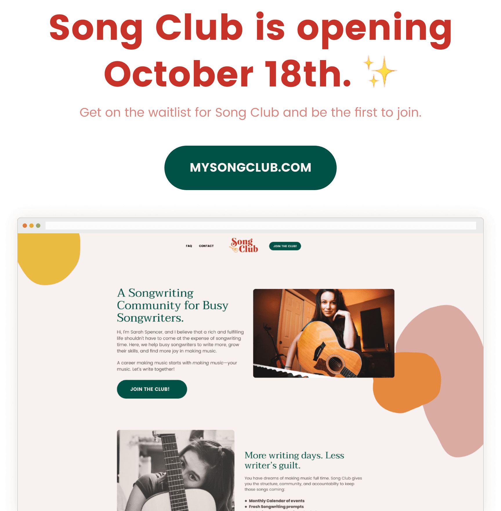 Join the club and get instant access to all Song Club has to offer: dive into inspiring content, and vibrant community of songwriter friends. Come on in!