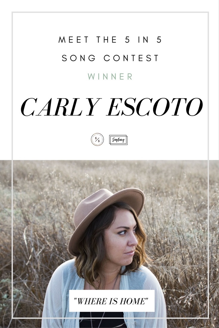 """Meet Carly Escoto – the California based singer/songwriter who won SongFancy's last songwriting competition, the 5 in 5 Songwriting Competition! If you're unfamiliar, this competition runs in tandem with the 5 in 5 Song Challenge, and gives songwriters a chance to submit their newly written songs to win fun prizes. Carly blew me away with her submission, """"Home,"""" written to one of the daily song prompts, """"Where is home?"""" Here's how Carly wrote this knock-out song and what her life as a singer/songwriter is like."""