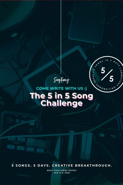 Hey songwriter girl! Come get inspired in our 5 day songwriting challenge. The next 5 in 5 Song Challenge takes place January 4-8, 2021. We'll crush your writer's block, silence your inner critic, and write 5 shiny new songs. Come write with us!